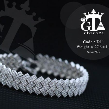 دستبند نقره زنانه جواهر با نگین های برلیان اتمی DS-N215