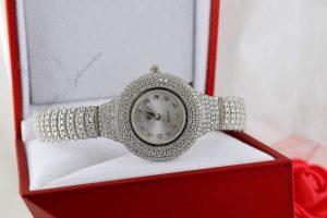 ساعت نقره زنانه نگین دار مجلسی با صفحه دایره ای Wh n100 4 300x200 - خانه