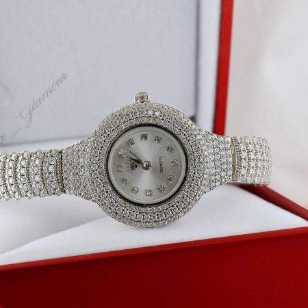 خرید ساعت نقره زنانه نگین دار مجلسی با صفحه دایره ای Wh-n100 - عکس اصلی