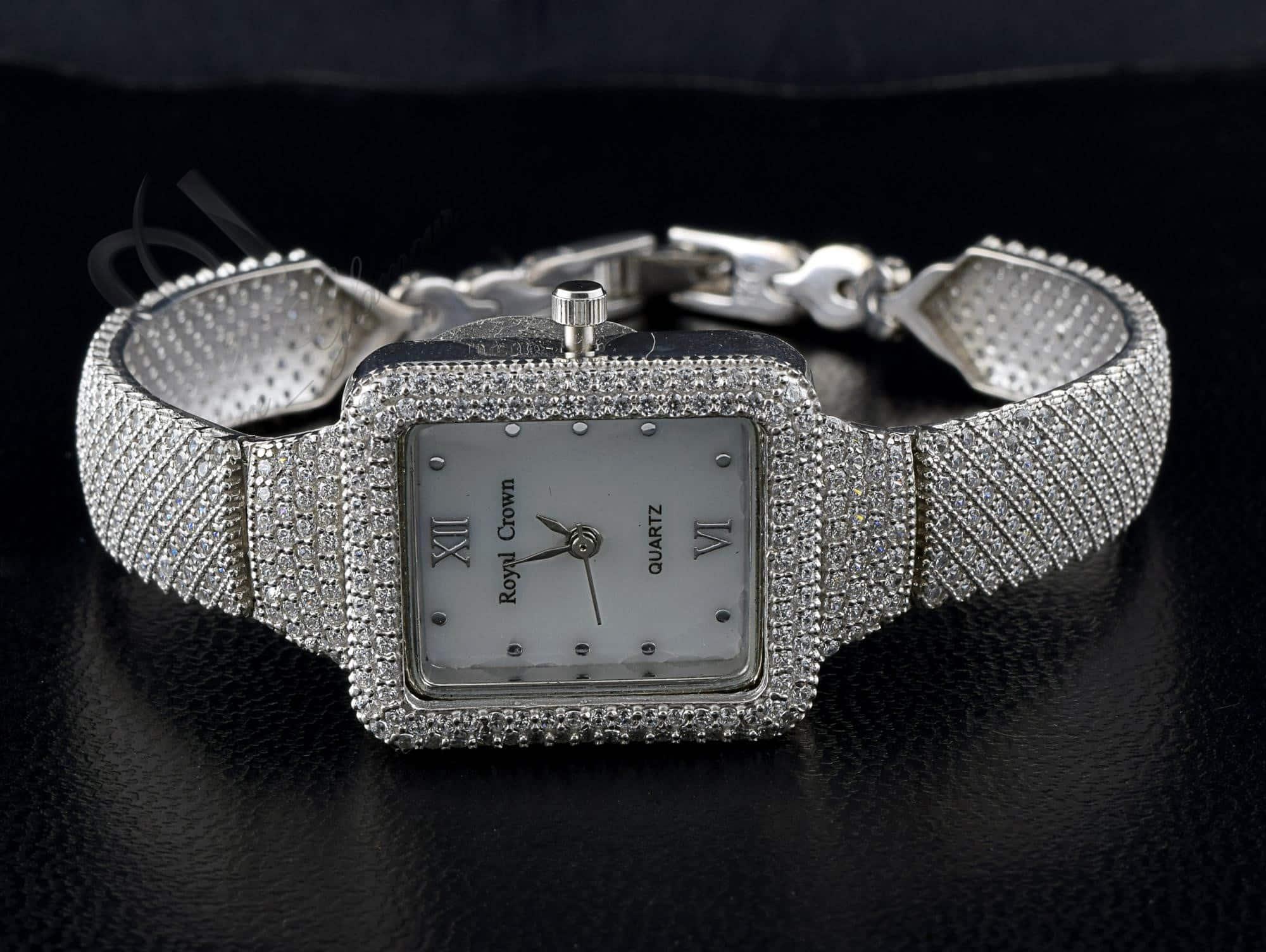 خرید ساعت نقره زنانه نگین دار مجلسی با صفحه مستطیلی Wh-n101 - عکس از روبرو