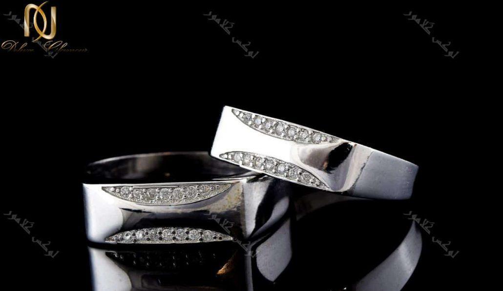 ست حلقه نقره نگین دار آینه ای Rg-n202 - زمینه مشکی
