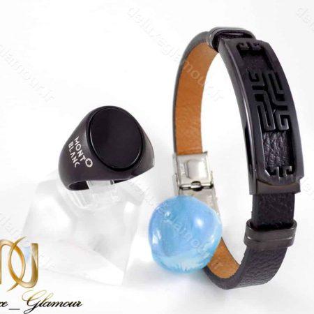 ست دستبند و انگشتر مردانه مونت بلانک مشکی اسپرت gl-s108 از نمای سفید