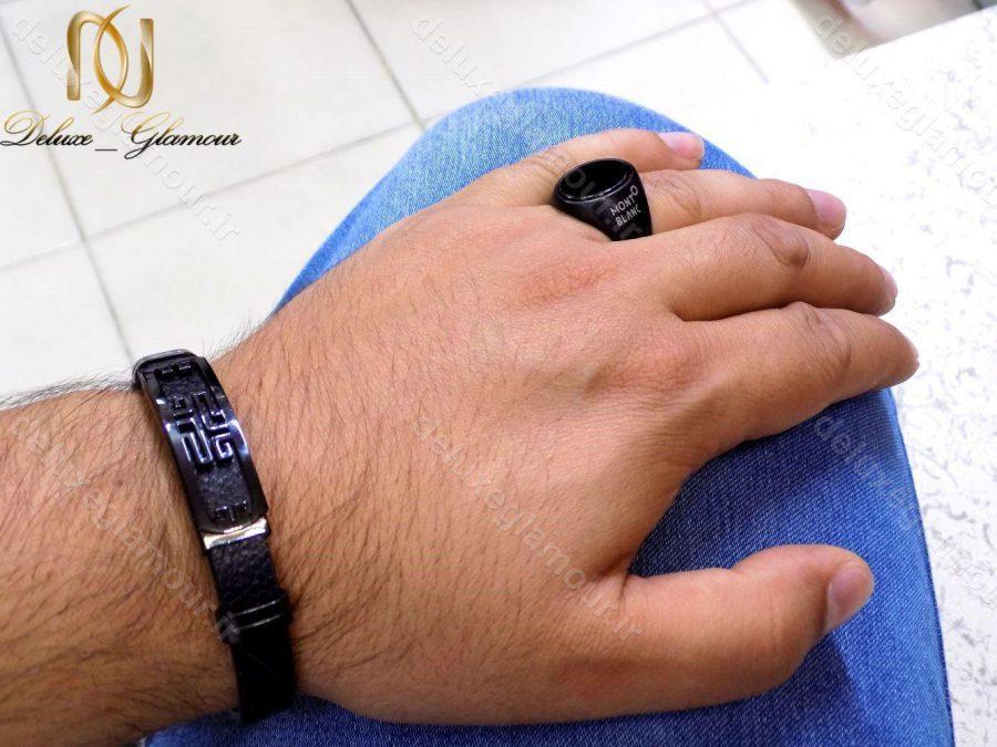 ست دستبند و انگشتر مردانه مونت بلانک مشکی اسپرت gl-s108