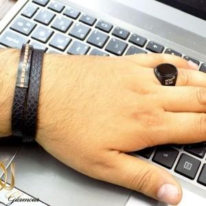 ست دستبند و انگشتر مردانه مونت بلانک و massimo dutti مشکی gl-s106 از نمای روی دست