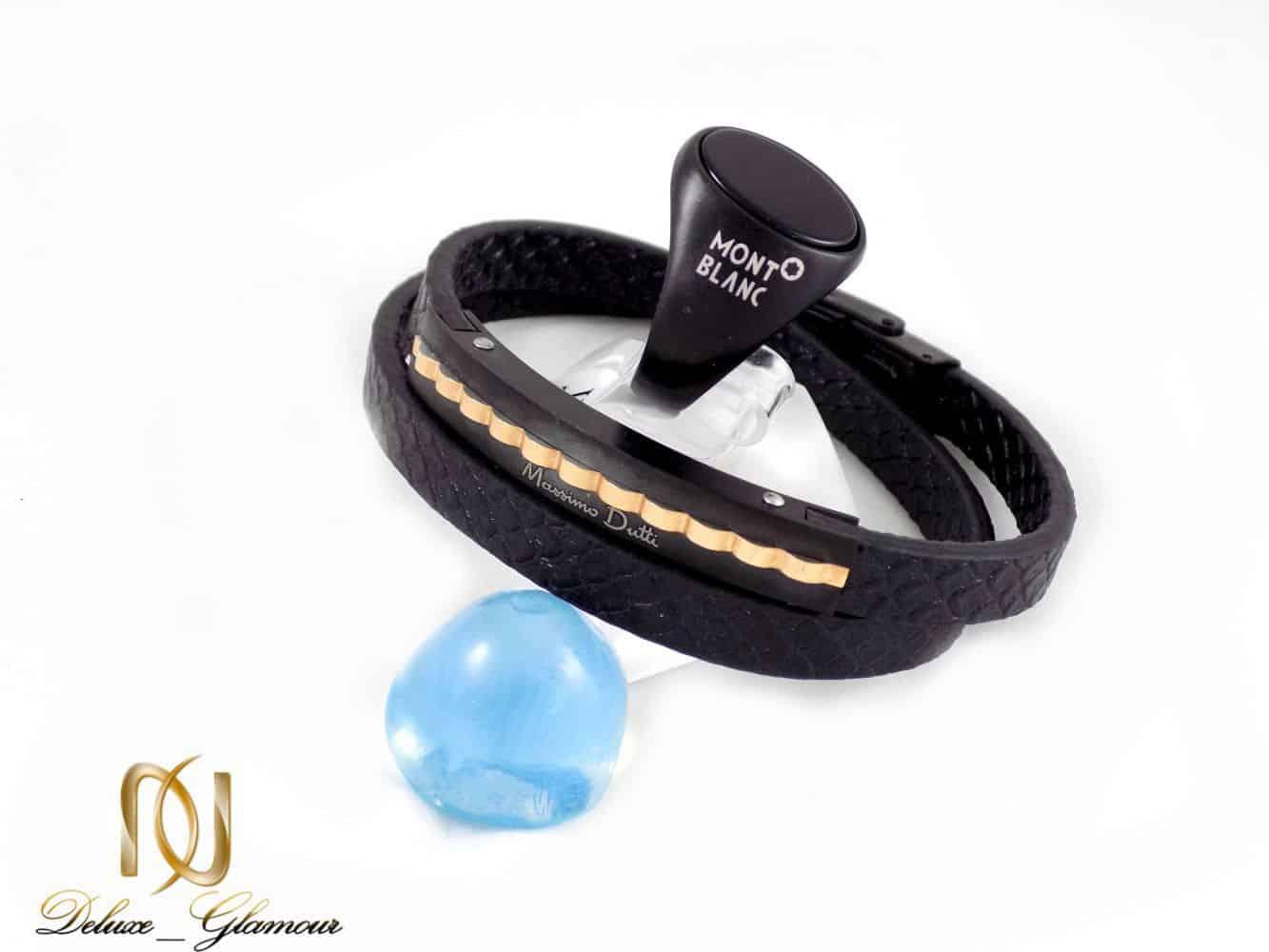 ست دستبند و انگشتر مردانه مونت بلانک و massimo dutti مشکی gl-s106 از نمای بالا