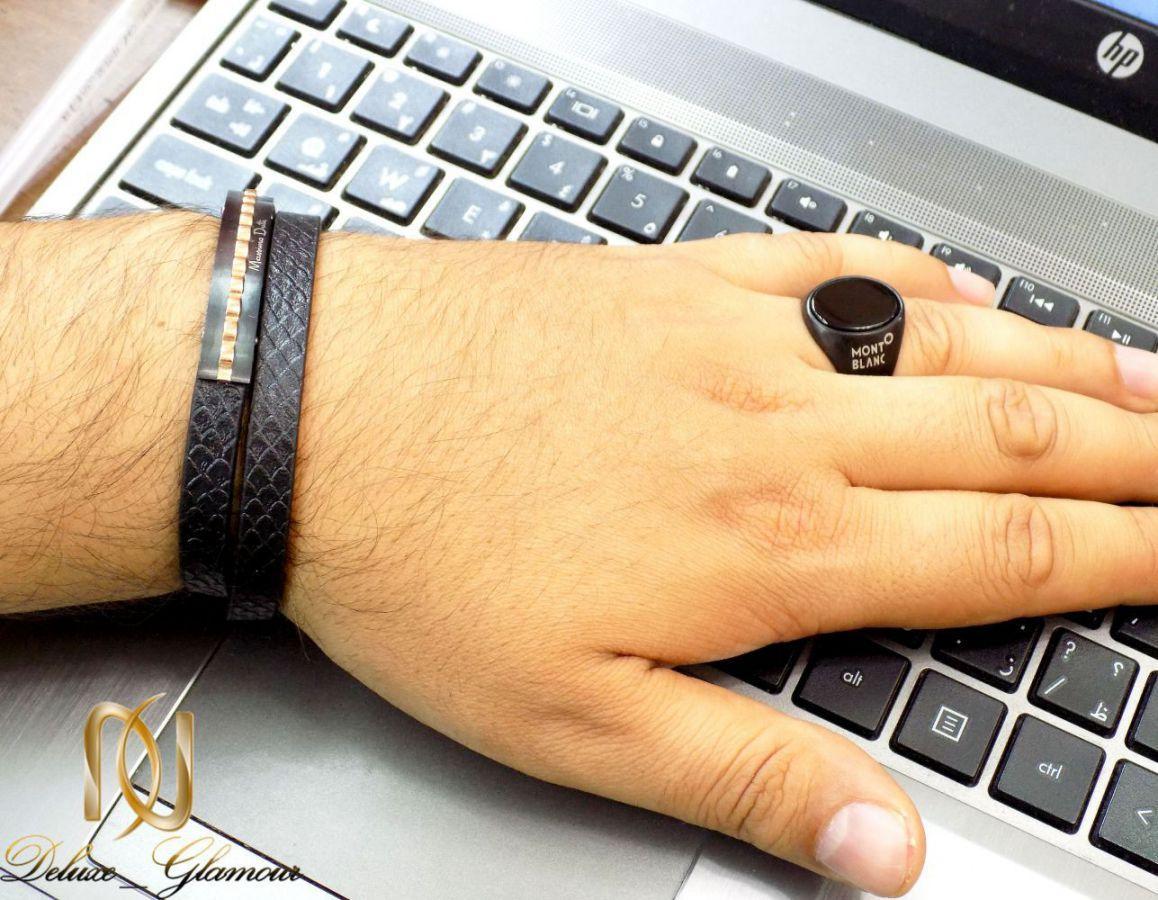 ست دستبند و انگشتر مردانه مونت بلانک و massimo dutti مشکی gl-s106