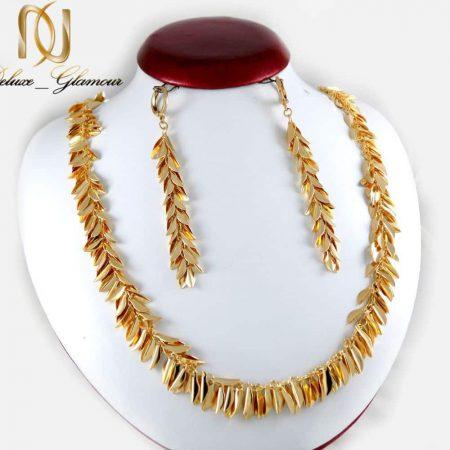 نیم ست گوشواره و گردنبند ژوپینگ با طرح طلای خوشه گندم ns-n187 از نمای روبرو