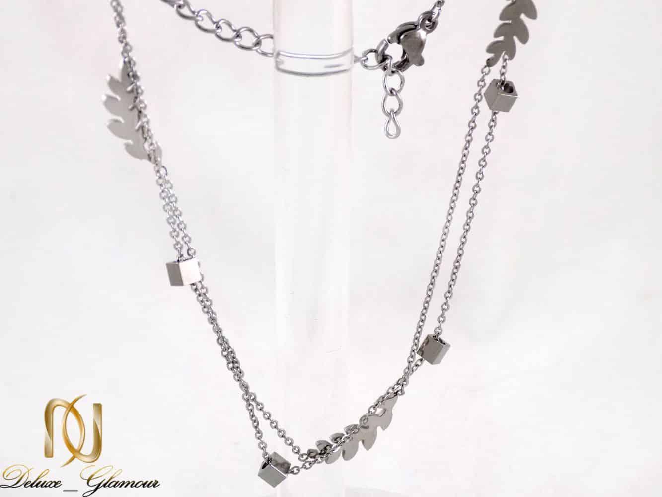 پابند دخترانه استیل دو لاینه طرح خوشه و مهره مکعب pa-n104 از نمای سفید