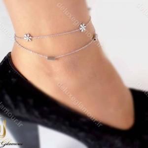 پابند دخترانه استیل دو لاینه نقره ای طرح برف pa-n101 از نمای روی پا