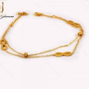 پابند دخترانه استیل طرح بی نهایت دو لاینه طلایی pa-n103 از نمای بالا