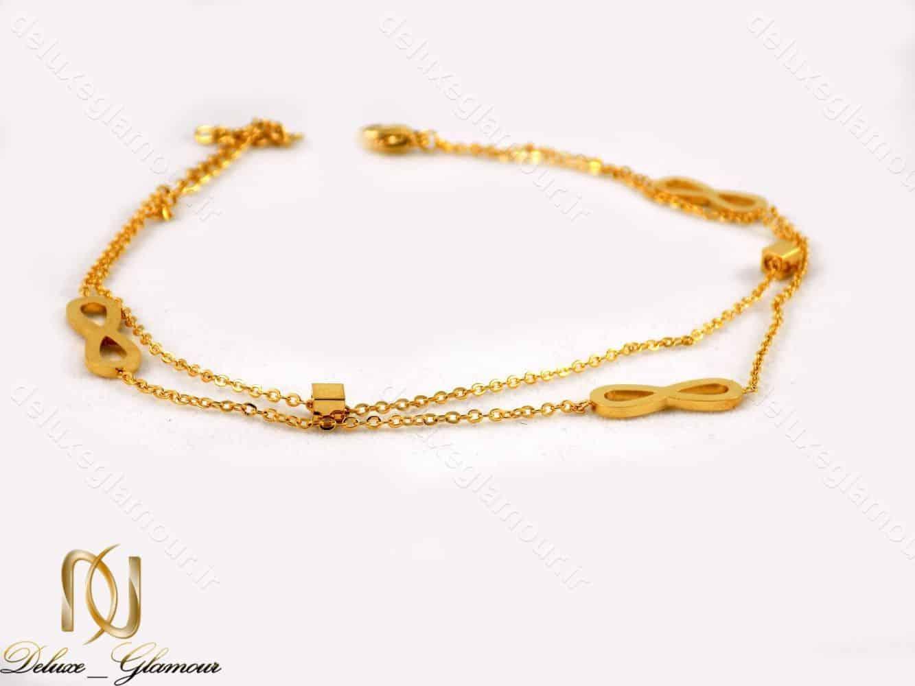 پابند دخترانه استیل طرح بی نهایت دو لاینه طلایی pa-n103 از نمای پایین