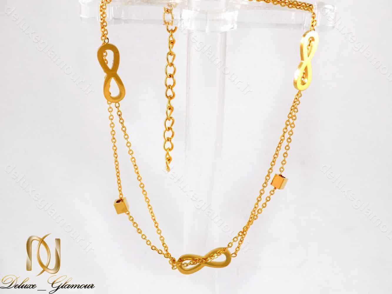 پابند دخترانه استیل طرح بی نهایت دو لاینه طلایی pa-n103 از نمای روبرو