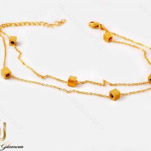 پابند دخترانه دولاینه استیل با طرح مکعبی و روکش آب طلا pa-n102 از نمای پایین