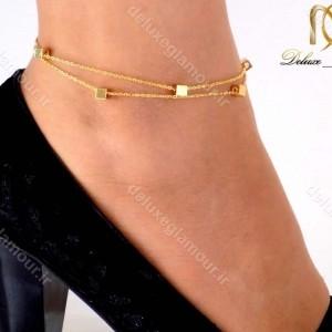 خرید پابند دخترانه دولاینه استیل با طرح مکعبی و روکش آب طلا pa-n102 از نمای روی پا