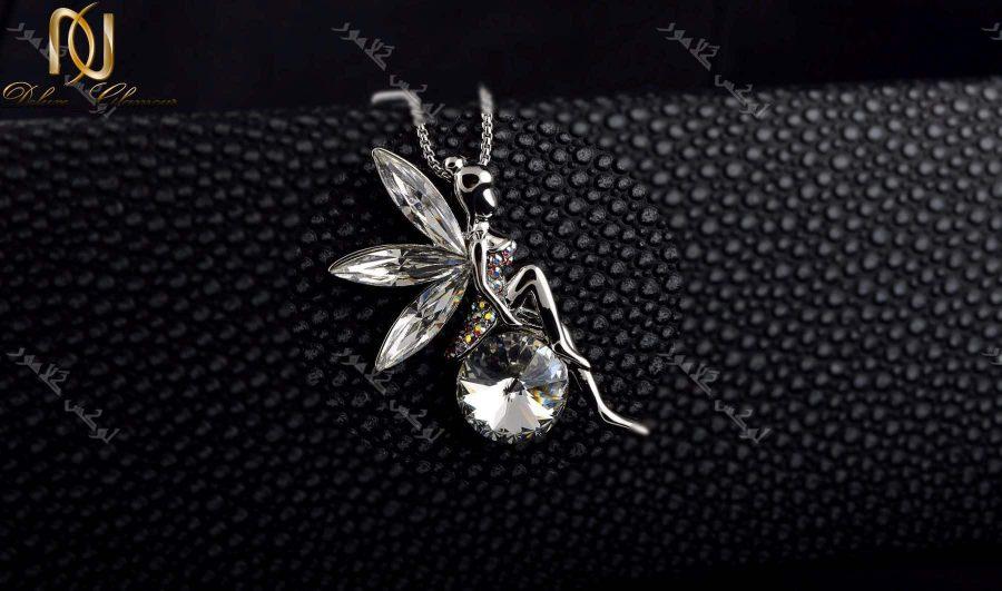 گردنبند دخترانه طرح فرشته با کریستالهای سواروسکی اصل Nw-n204 زمینه مشگی