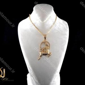 خرید گردنبند ماه تولد دی -گردنبند دخترانه ژوپینگ ماه تولد دی ماه با نماد بز nw-n197 از نمای روبرو