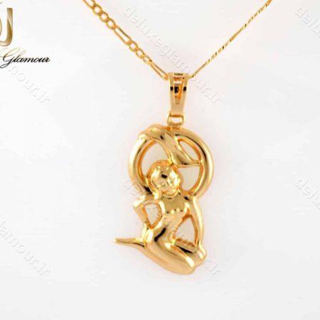 خرید گردنبند ماه تولد شهریور -گردنبند دخترانه ژویپنگ ماه تولد شهریور با نماد فرشته nw-n198 از نمای روبرو