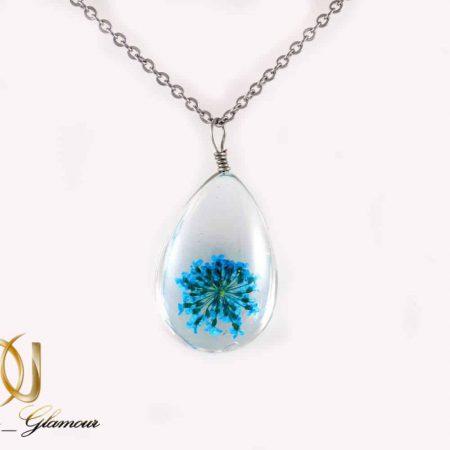 گردنبند رومانتویی طرح آکواریوم گل خشک آبی به همراه زنجیر nw-n196