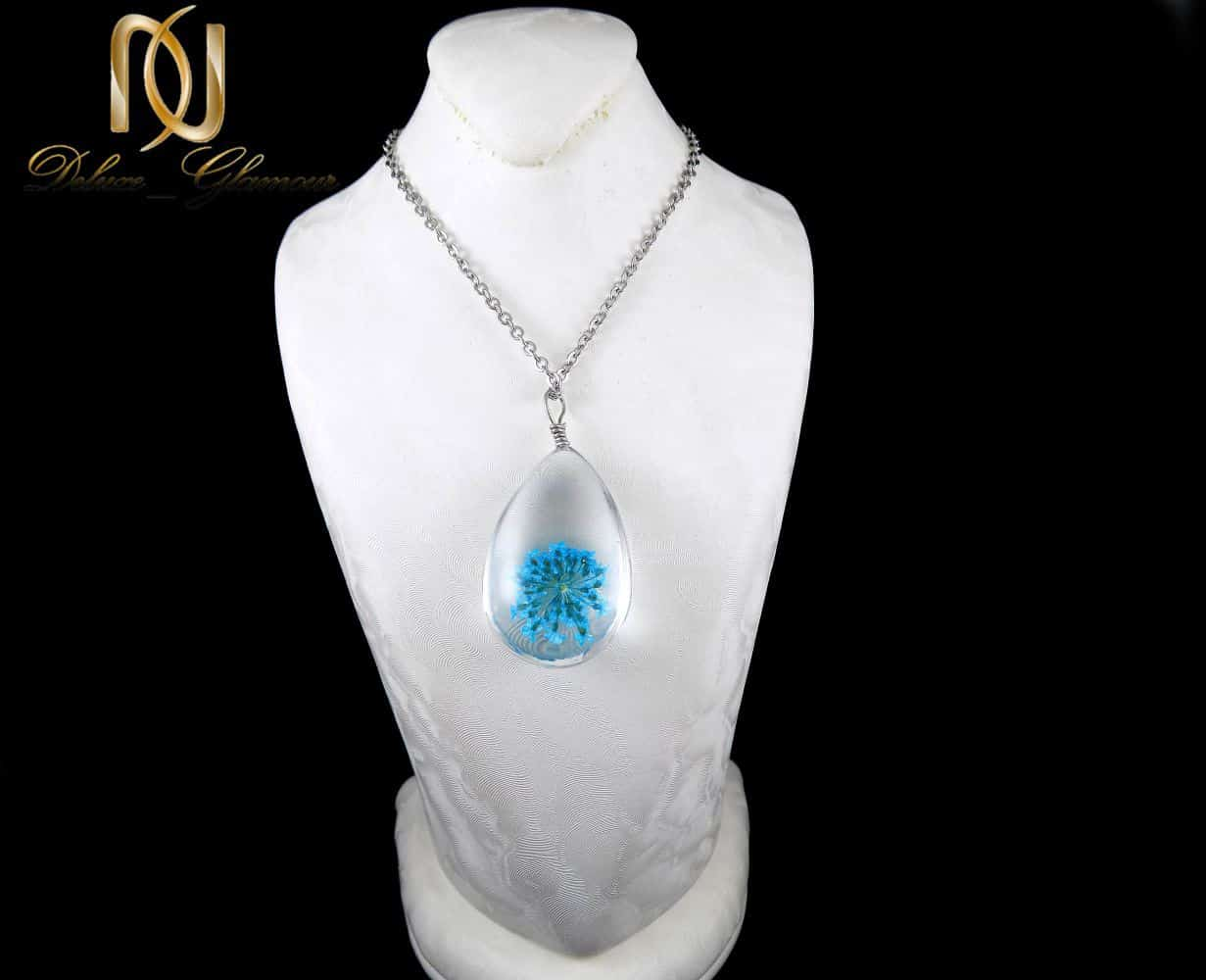 گردنبند رومانتویی طرح آکواریوم گل خشک آبی به همراه زنجیر nw-n196 (2)