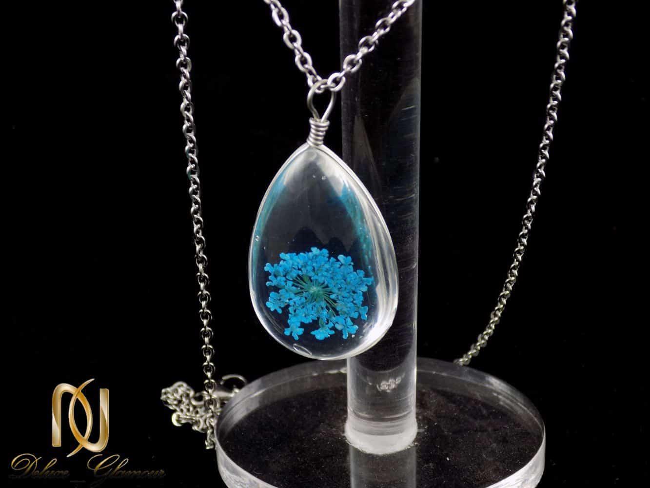 گردنبند رومانتویی طرح آکواریوم گل خشک آبی به همراه زنجیر nw-n196 (3)