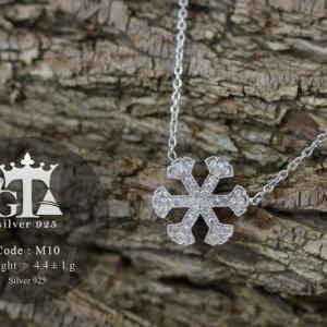 گردنبند نقره دخترانه طرح برف با نگین های اتمی برلیان nw-n214 از نمای روبرو