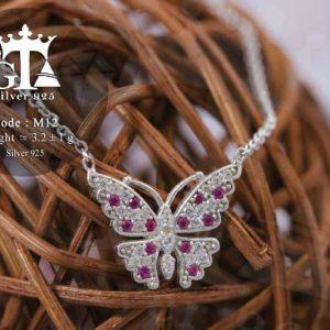 گردنبند نقره دخترانه طرح پروانه با نگین های برلیان اتمی nw-n215 از نمای روبرو