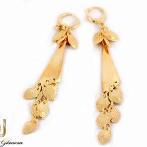 گوشواره آویزی زنانه طرح طلای ژوپینگ با قفل اهرمی er-n150 از نمای نزدیک