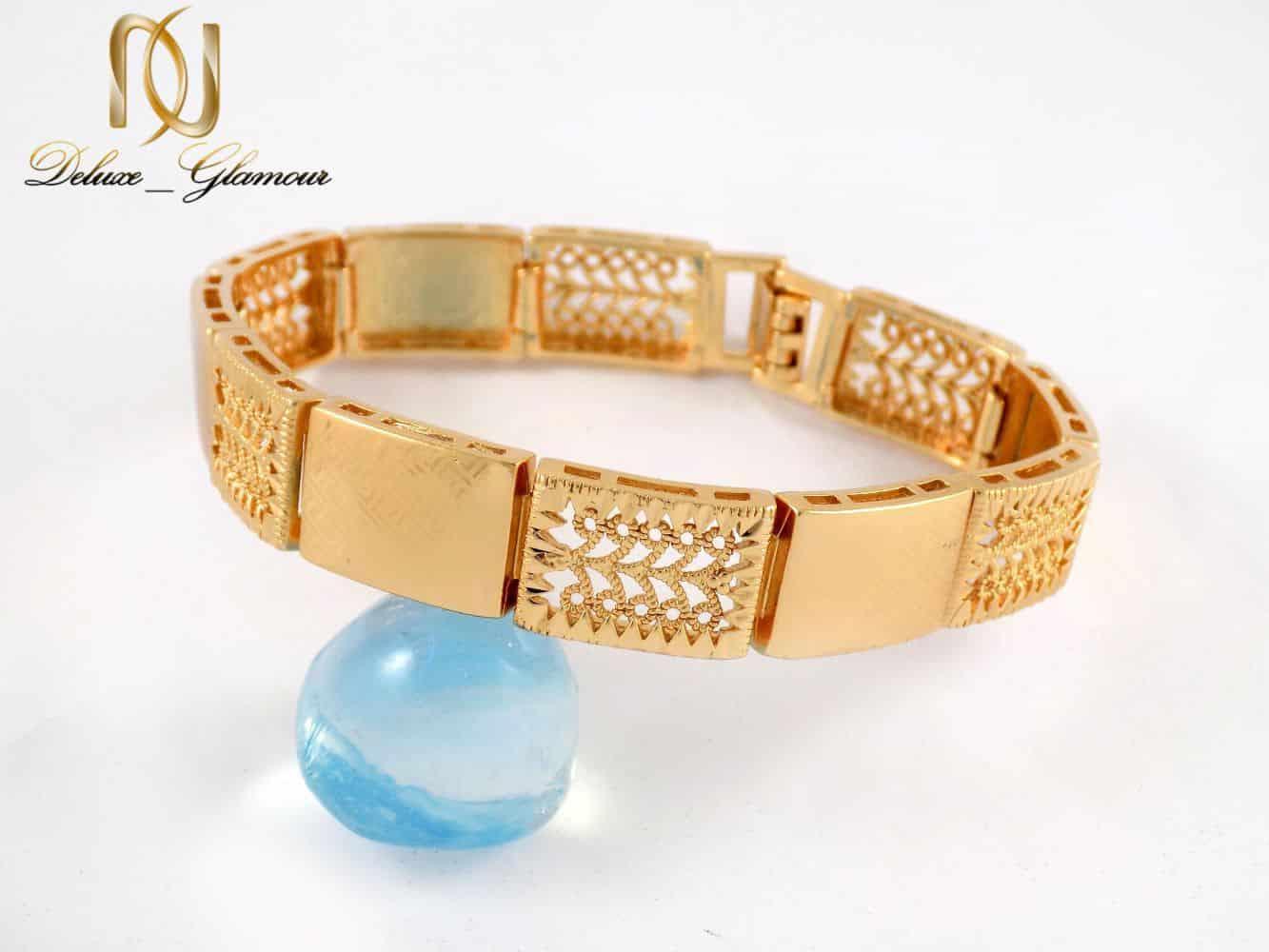 دستبند زنانه طلایی طرح بند ساعتی ژوپینگ - عکس اصلی