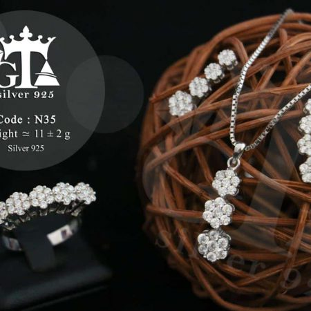 خرید سرویس نقره عروس نگین دار طرح شکوفه se-n35