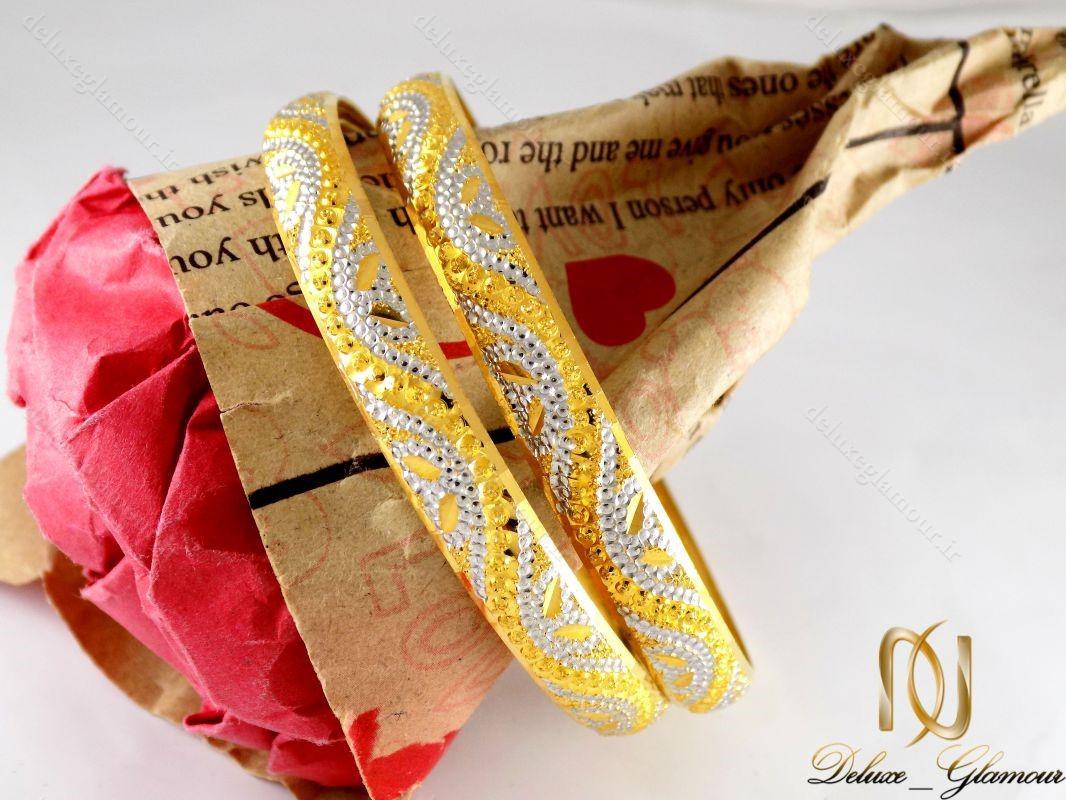 النگو نقره زنانه تراش دو رنگ طرح طلا al-n104
