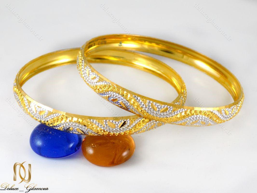 النگو نقره زنانه تراش دو رنگ طرح طلا al-n104 از نمای روبرو