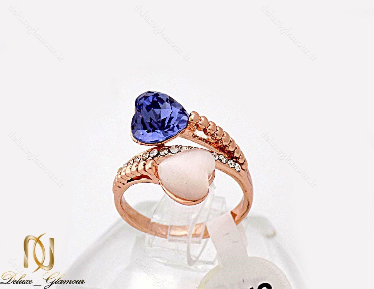 انگشتر دخترانه جواهری رزگلد با نگین سواروسکی و اپال RG-N227 از نمای روبرو