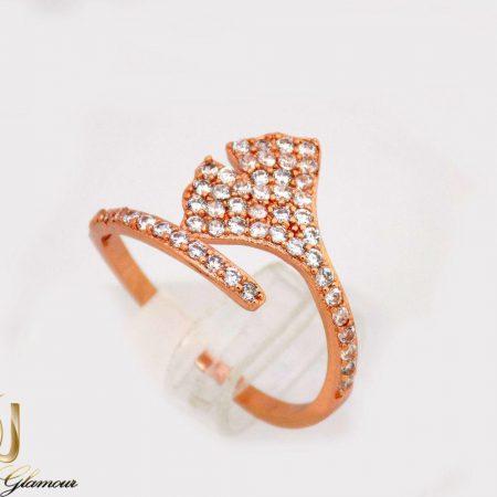 انگشتر دخترانه جواهری طرح صدفی با نگین های سواروسکی rg-n234 از نمای روبرو