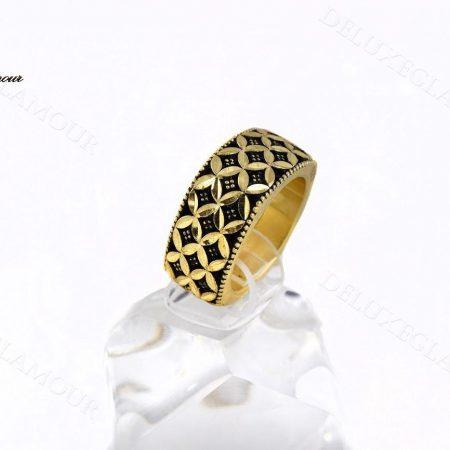 خرید انگشتر زنانه نقره مربعی سیاه قلم Rg-n239 - عکس اصلی