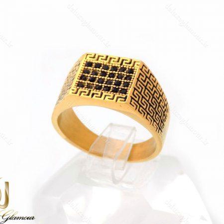 انگشتر مردانه استیل طلایی با نگین های مارکازیت مشکی RG-N226