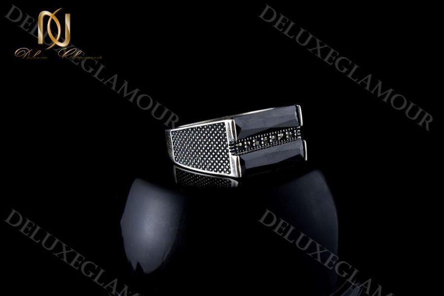 خرید انگشتر مردانه نقره با نگین عقیق و مارکازیت rg-n204 - زمینه مشکی