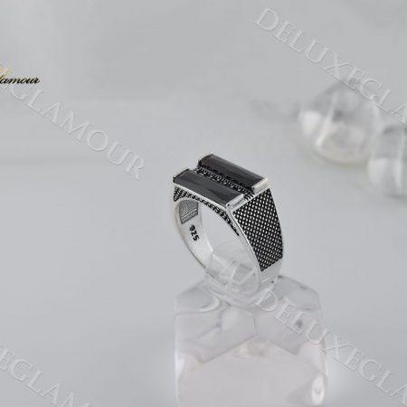 خرید انگشتر مردانه نقره با نگین عقیق و مارکازیت rg-n204 - عکس اصلی