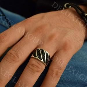 خرید انگشتر مردانه نقره رینگ با نگین های مارکازیت Rg-n205 - روی دست