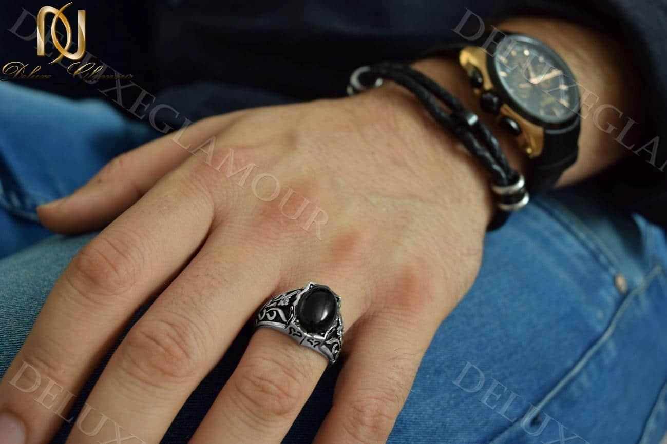 انگشتر مردانه نقره سیاه قلم با عقیق مشکی Rg-n217 (2)