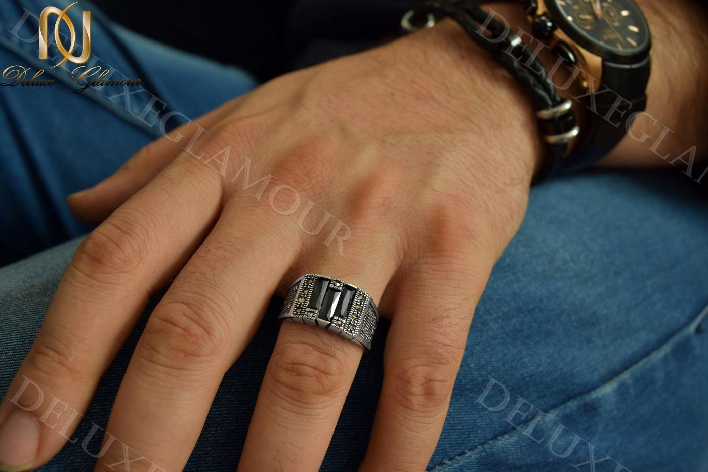 انگشتر نقره مردانه با عقیق مشکی و مارکازیت Rg-n209 (3)