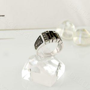 انگشتر نقره مردانه با عقیق مشکی و مارکازیت Rg-n209 - عکس اصلی