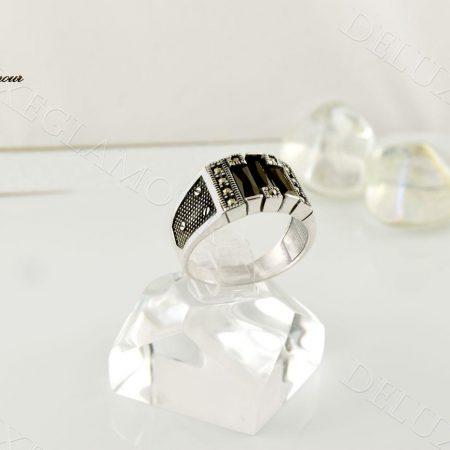 انگشتر نقره مردانه با عقیق مشکی و مارکازیت Rg-n209