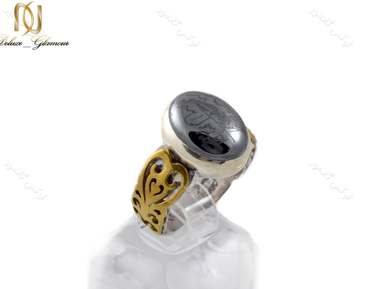 انگشتر نقره مردانه با نگین حدید حکاکی شده Rg-n238 (1)