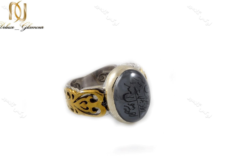 انگشتر نقره مردانه با نگین حدید حکاکی شده Rg-n238 (2)