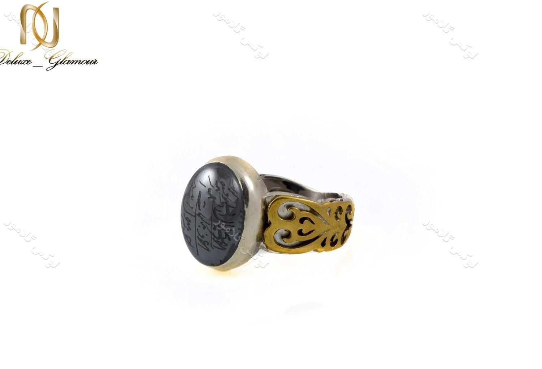 خرید انگشتر نقره مردانه با نگین حدید حکاکی شده Rg-n238 - عکس اصلی