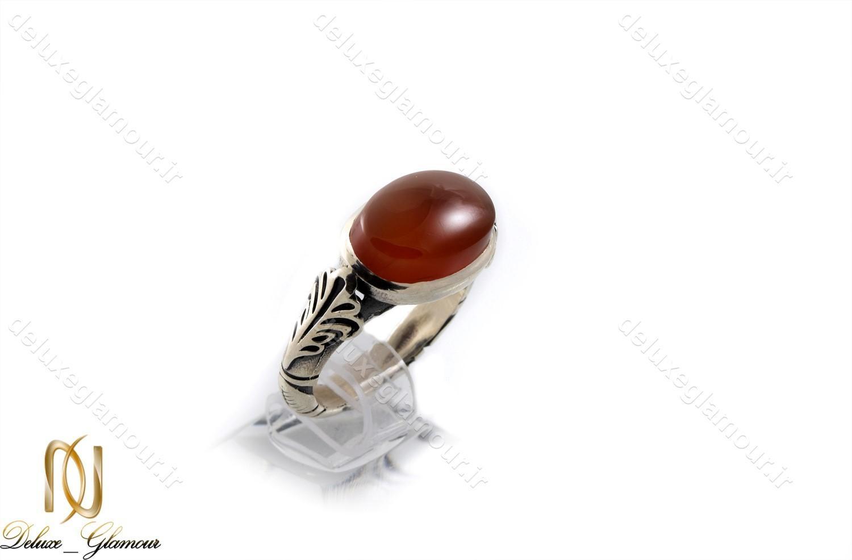 انگشتر نقره مردانه با نگین عقیق خراسانی اصل rg-n237 از نمای کنار