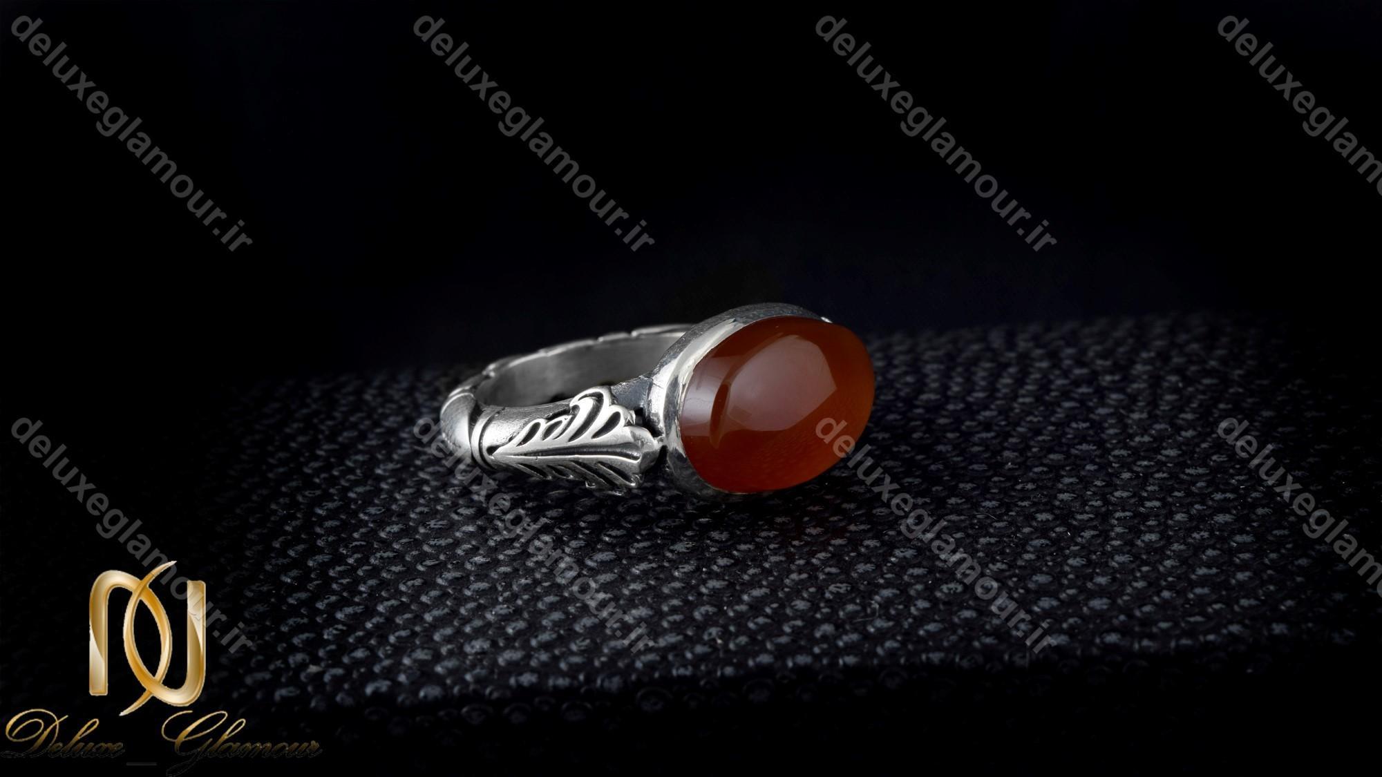انگشتر نقره مردانه با نگین عقیق خراسانی اصل rg-n237 از نمای مشکی