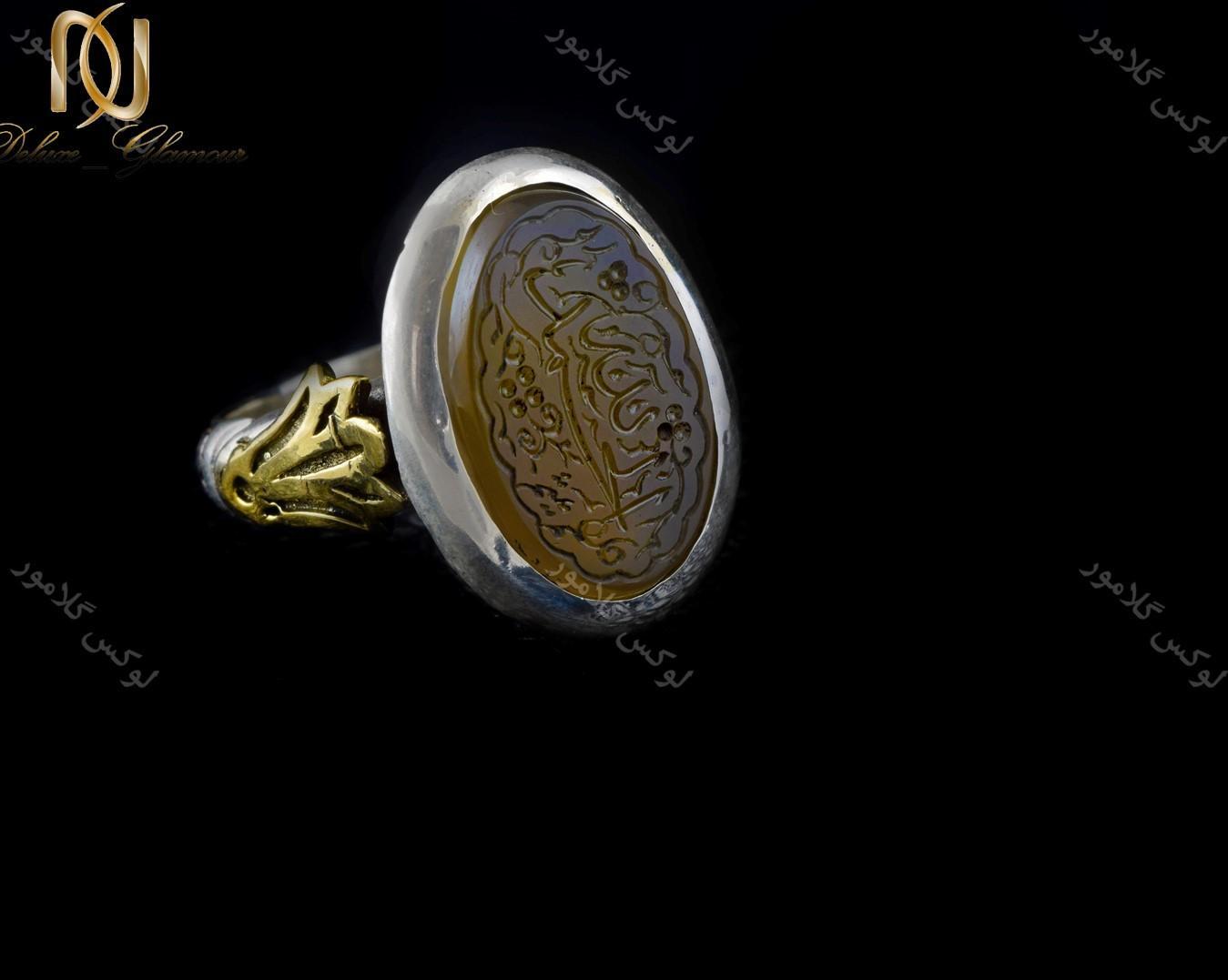 خرید انگشتر نقره مردانه با نگین عقیق زرد حکاکی شده Rg-n239 - زمینه مشکی
