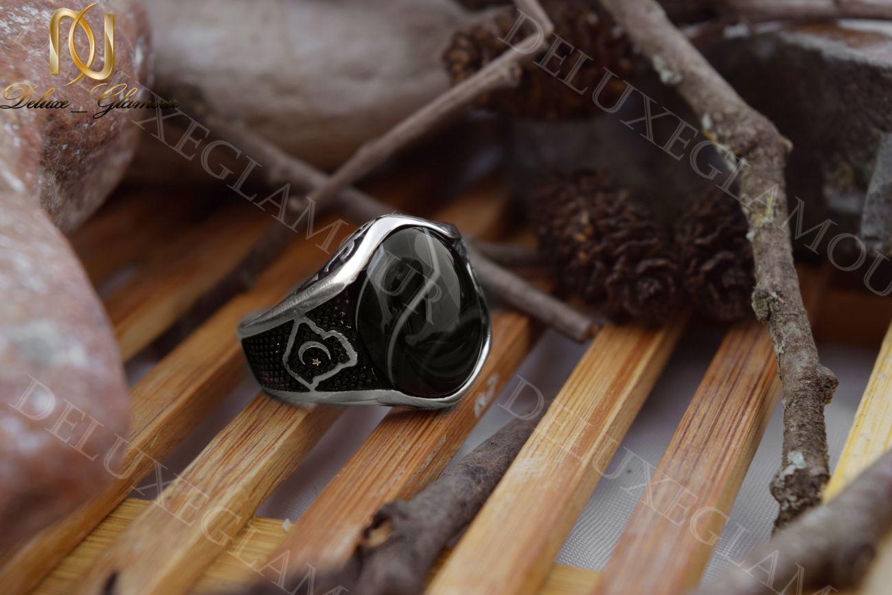 انگشتر نقره مردانه با نگین عقیق و مارکازیت Rg-n206 (2)_1