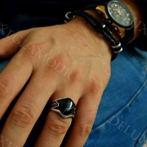 انگشتر نقره مردانه با نگین عقیق و مارکازیت Rg-n206 - روی دست